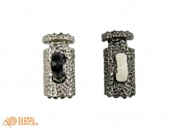 Metal Double Cord Stopper  with Colored Rhinestones